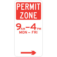 R5-22(R -- 225x450mm - Aluminium - Permit Zone (Right Arrow)