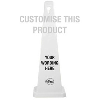 890mm - White Safety Cone - Custom (List Wording Here)