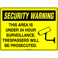 Security Warning This Area is under 24 Hour Surveillance.  Trespassers will be Prosecuted.