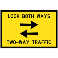 900x600mm - CL1W BED - Look Both Ways Two Way Traffic