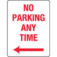 No Parking Any Time with Left Arrow