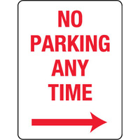 450x300mm - Metal - No Parking Any Time with Right Arrow