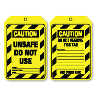 Pkt of 100 Cardboard - Caution Unsafe Do Not Use