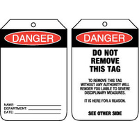 Pkt of 100 Cardboard - Danger Blank