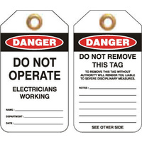Pkt of 25 Heavy Duty PVC - Danger Electricians Working