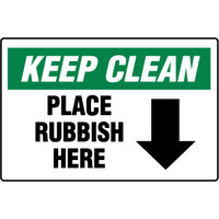 450x300mm - Poly - Keep Clean Place Rubbish Here (with arrow)