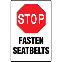 450x300mm - Poly - Stop Fasten Seatbelts