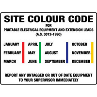 450x300mm - Poly - Site Colour Code For Portable Electrical Equipment etc