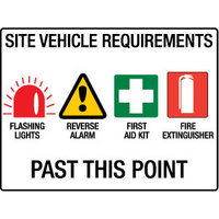 600x450mm - Fluted Board - Site Vehicle Requirements Flashing Lights etc