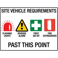 600x450mm - Metal - Site Vehicle Requirements Flashing Lights etc