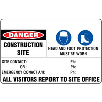 600x450mm - Fluted Board - Danger Construction Site Head and Foot Protection Must Be Worn Etc.