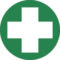 50mm Disc - Self Adhesive - Sheet of 12 - First Aid Pictogram