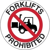 400mm - Self Adhesive, Anti-slip, Floor Graphics - Forklifts Prohibited