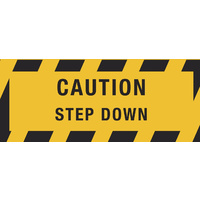 450x180mm - Self Adhesive, Anti-Slip Floor Graphics - Caution Step Down