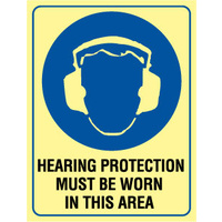240x180mm - Hearing Protection Must Be Worn In This Area - Luminous