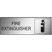 300x100 - Engraved Label - Black/Brushed Aluminium Traffilite - Adhesive Backed - Fire Extinguisher (With Picto)