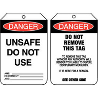 Pkt of 100 Cardboard - Danger Unsafe Do Not Use