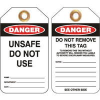 Pkt of 25 Heavy Duty PVC - Danger Unsafe Do Not Use