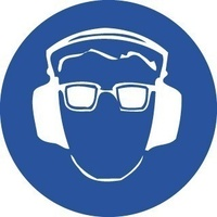 200mm Disc - Self Adhesive - Hearing and Eye Protection Pictogram