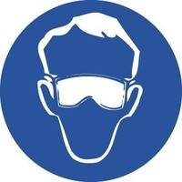 50mm Disc - Self Adhesive - Sheet of 12 - Goggles Pictogram