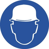 50mm Disc - Self Adhesive - Sheet of 12 - Hard Hat Pictogram