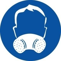 200mm Disc - Self Adhesive - Half Face Mask Respirator Pictogram