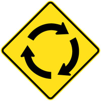 750x750mm - AL CL1W - Roundabout Ahead