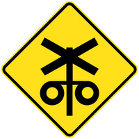 750x750mm - AL CL1W - Railway Level Crossing Flashing Signal Ahead