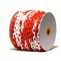6mm Plastic Red/White Chain - Roll of 50mtrs