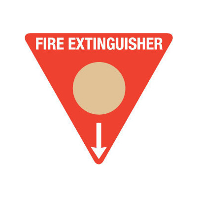 Triangle Fire Extinguisher Marker - Wet Chemical (Gold)