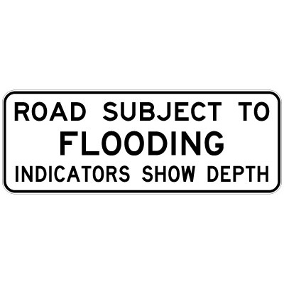 Road Subject To Flooding Indicators Show Depth