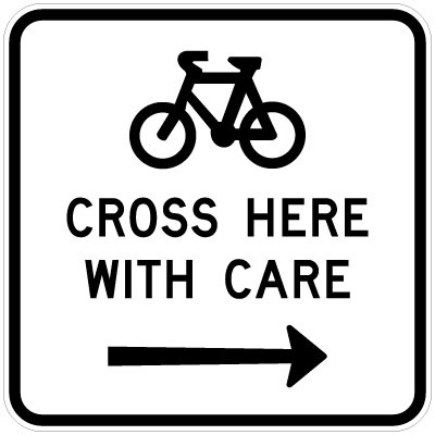 Bicycles Cross Here With Care Right
