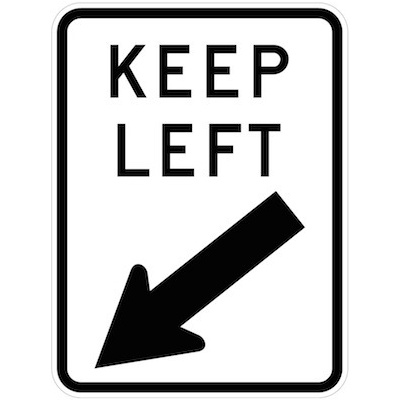 Keep Left (with arrow)