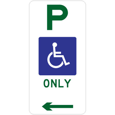 Disabled Parking Only (Left Arrow)