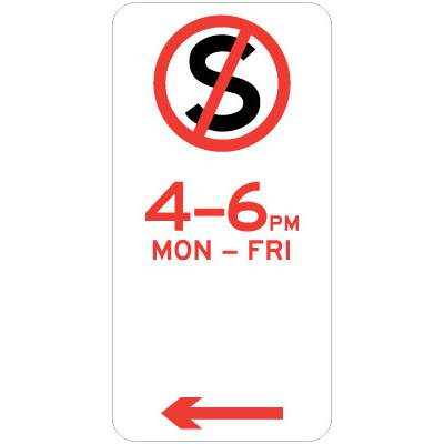 No Stopping - Specific Times (Left Arrow)