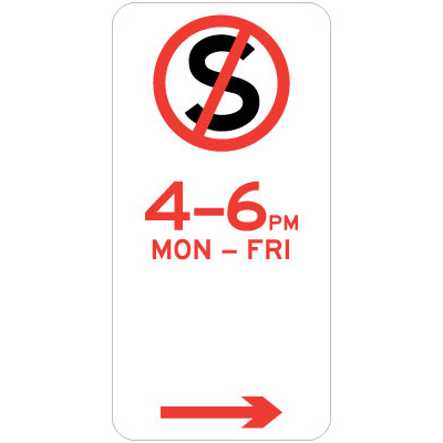 No Stopping - Specific Times  (Right Arrow)