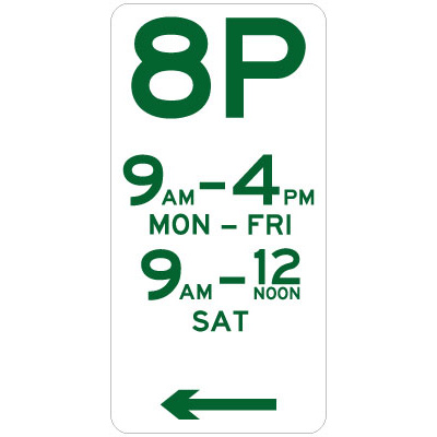8 Hour Parking (Left Arrow)