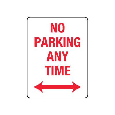 No Parking Any Time with Double Arrow