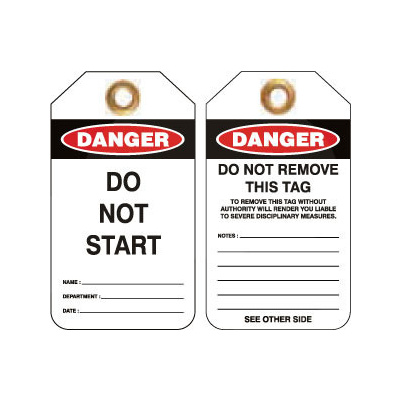 Pkt of 25 Heavy Duty PVC -  Danger Do Not Start