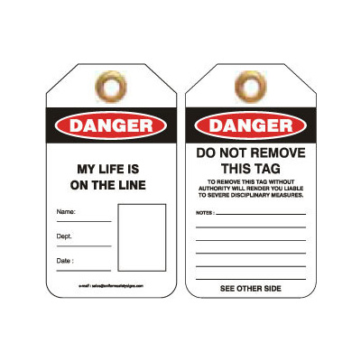 Pkt of 25 Heavy Duty PVC - Danger My Life Is On The Line