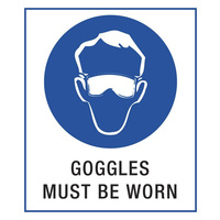 140x120mm - Self Adhesive - Pkt of 4 - Goggles Must be Worn