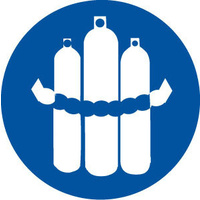 200mm Disc - Self Adhesive - Chained Cylinders Pictogram