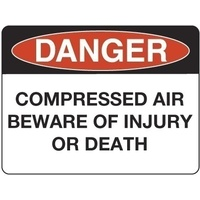 300x225mm - Poly - Danger Compressed Air Beware of Injury or Death