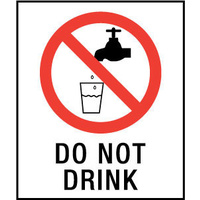 140x120mm - Self Adhesive - Pkt of 4 - Do Not Drink