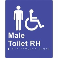 180x220mm - Braille - Blue PVC - Male Accessible Toilet (Right Hand)