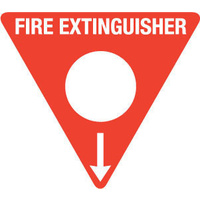 FRL05TRP -- 350mm Poly Triangle - Fire Extinguisher Marker - Powder AB(E) (White)