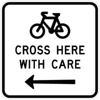 Bicycles Cross Here With Care Left