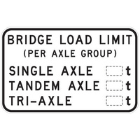 R6-17 -- 1200x750mm - AL CL1W - Bridge Load Limit (Per Axel Group)