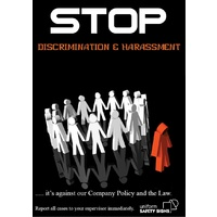 A3 Laminated Safety Poster - Stop Discrimination and Harassment. It's against the Law