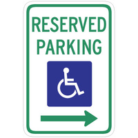 450x300mm - Poly - Reserved Parking (Disabled Picto and Right Arrow)